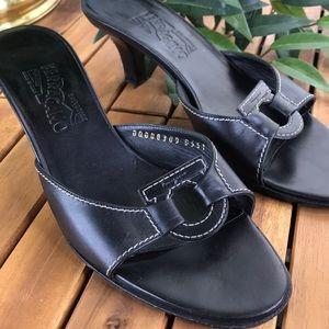 Salvatore Ferragamo Heels Sandals Black Sz 9
